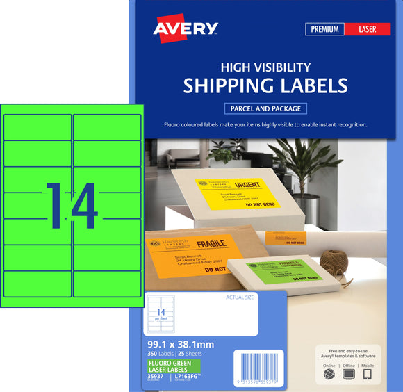 avery fluoro green high visibility shipping labels for laser