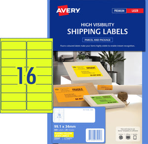 Avery Fluoro Yellow High Visibility Shipping Labels for Laser Printers, 99.1 x 34 mm, 400 Labels (35942 / L7162FY)