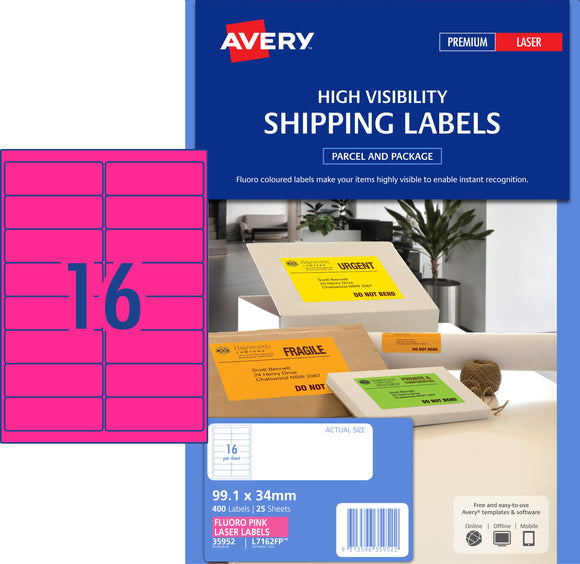 Avery Fluoro Pink High Visibility Shipping Labels for Laser Printers, 99.1 x 34 mm, 400 Labels (35952 / L7162FP)