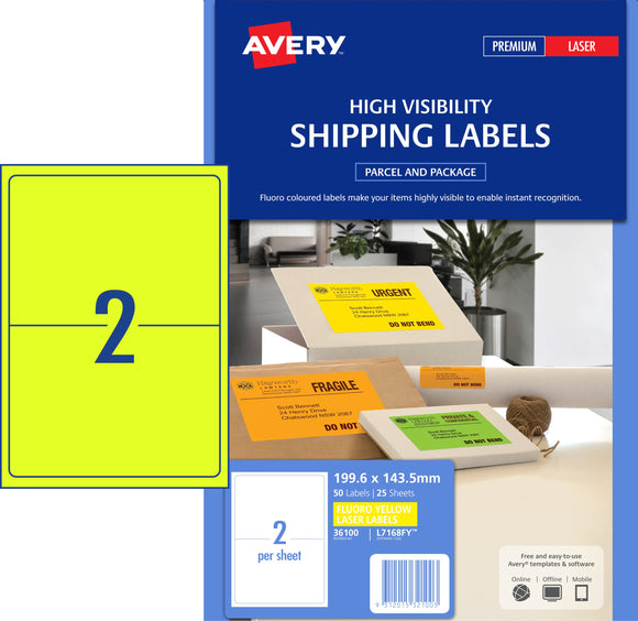 Avery Fluoro Yellow High Visibility Shipping Labels for Laser Printers, 199.6 x 143.5 mm, 50 Labels (36100 / L7168FY)