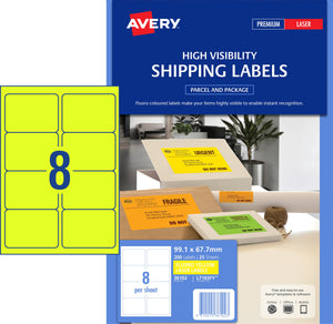 Avery Fluoro Yellow High Visibility Shipping Labels for Laser Printers, 99.1 x 67.7 mm, 200 Labels (36102 / L7165FY)