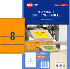 Avery Fluoro Orange High Visibility Shipping Labels for Laser Printers, 99.1 x 67.7 mm, 200 Labels (36103 / L7165FO)