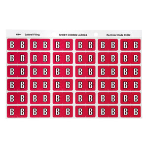 Avery B Side Tab Colour Coding Labels for Lateral Filing, 25 x 38 mm, Magenta, 180 Labels (43302)