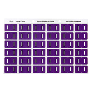 Avery I Side Tab Colour Coding Labels for Lateral Filing, 25 x 38 mm, Purple, 180 Labels (43309)