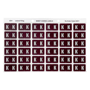 Avery K Side Tab Colour Coding Labels for Lateral Filing, 25 x 38 mm, Brown, 180 Labels (43311)