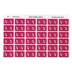 Avery N Side Tab Colour Coding Labels for Lateral Filing, 25 x 38 mm, Magenta, 180 Labels (43314)