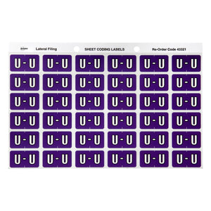 Avery U Side Tab Colour Coding Labels for Lateral Filing, 25 x 38 mm, Purple, 180 Labels (43321)