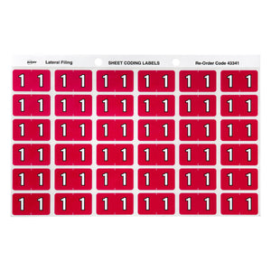 Avery 1 Side Tab Colour Coding Labels for Lateral Filing, 25 x 38 mm, Magenta, 180 Labels (43341)