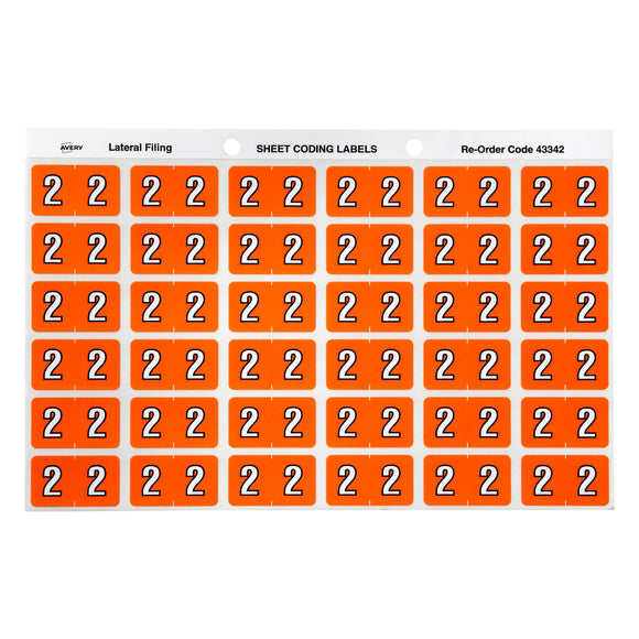 Avery 2 Side Tab Colour Coding Labels for Lateral Filing, 25 x 38 mm, Orange, 180 Labels (43342)