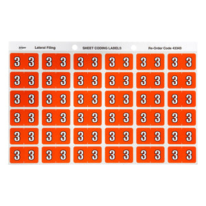Avery 3 Side Tab Colour Coding Labels for Lateral Filing, 25 x 38 mm, Dark Orange, 180 Labels (43343)