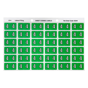 Avery 4 Side Tab Colour Coding Labels for Lateral Filing, 25 x 38 mm, Light Green, 180 Labels (43344)