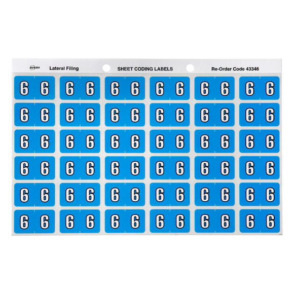 Avery 6 Side Tab Colour Coding Labels for Lateral Filing, 25 x 38 mm, Blue, 180 Labels (43346)