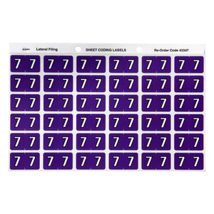 Avery 7 Side Tab Colour Coding Labels for Lateral Filing, 25 x 38 mm, Purple, 180 Labels (43347)