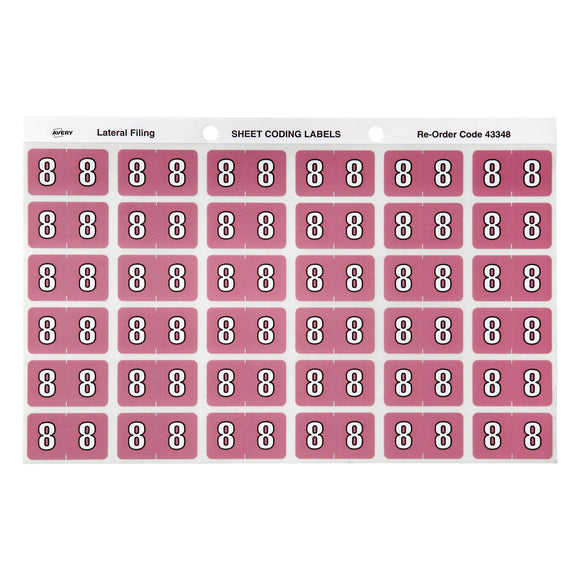 Avery 8 Side Tab Colour Coding Labels for Lateral Filing, 25 x 38 mm, Mauve, 180 Labels (43348)