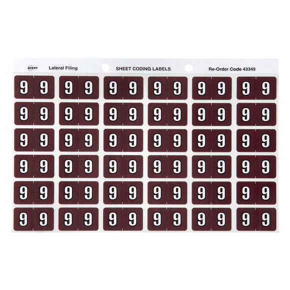Avery 9 Side Tab Colour Coding Labels for Lateral Filing, 25 x 38 mm, Brown, 180 Labels (43349)