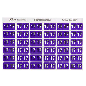 Avery 17 Side Tab Colour Coding Labels for Lateral Filing, 25 x 38 mm, Purple, 180 Labels (43367)
