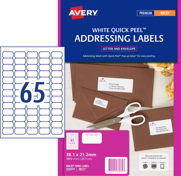 Avery Address Labels with Quick Peel for Inkjet Printers, 38.1 x 21.2 mm, 1625 Labels (936034 / J8651)