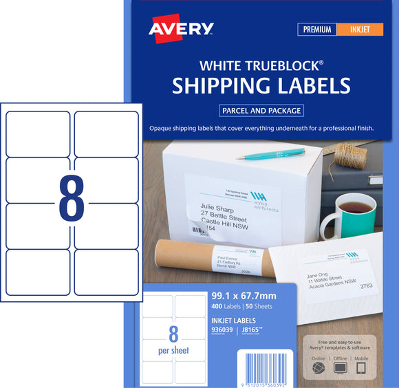 Avery Shipping Labels with Trueblock® for Inkjet Printers, 99.1 x 67.7 mm, 400 Labels (936039 / J8165)