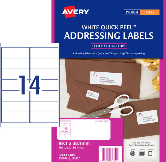 Avery Address Labels with Quick Peel for Inkjet Printers, 99.1 x 38.1 mm, 700 Labels (936044 / J8163)