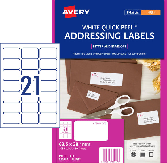 Avery Address Labels with Quick Peel for Inkjet Printers, 63.5 x 38.1 mm, 1050 Labels (936047 / J8160)