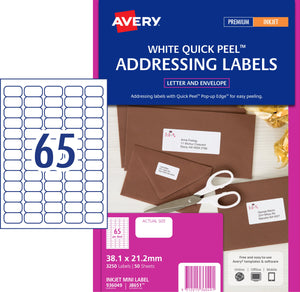 Avery Address Labels with Quick Peel for Inkjet Printers, 38.1 x 21.2 mm, 3250 Labels (936049 / J8651)