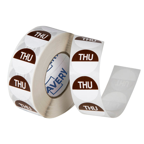 Avery Thursday Day Labels, 24mm, Brown/White, 1000 Labels (937332)