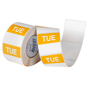 Avery Tuesday Day Labels, 40 x 40mm, Yellow/White, 500 Labels (937337)