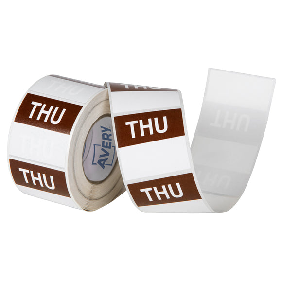 Avery Thursday Day Labels, 40 x 40mm, Brown/White, 500 Labels (937339)