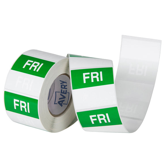 Avery Friday Day Labels, 40 x 40mm, Green/White, 500 Labels (937340)
