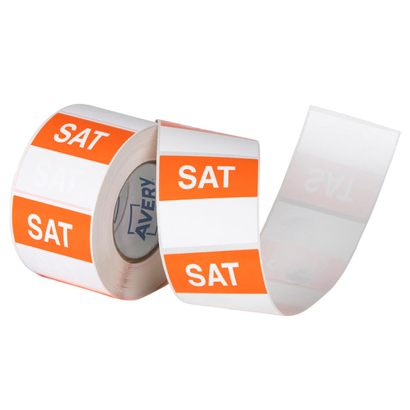 Avery Saturday Day Labels, 40 x 40mm, Orange/White, 500 Labels (937341)