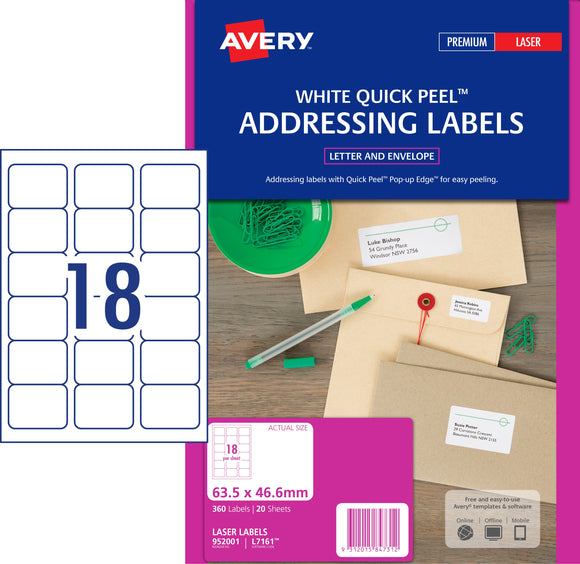 Avery Address Labels with Quick Peel for Laser Printers, 63.5 x 46.6 mm, 360 Labels (952001 / L7161)