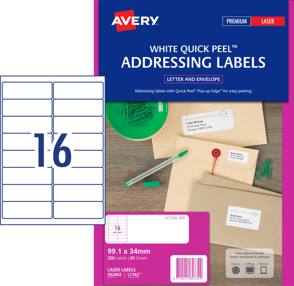 Avery Address Labels with Quick Peel for Laser Printers, 99.1 x 34 mm, 320 Labels (952002 / L7162)