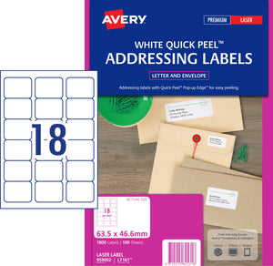 Avery Address Labels with Quick Peel for Laser Printers, 63.5 x 46.6 mm, 1800 Labels (959002 / L7161)
