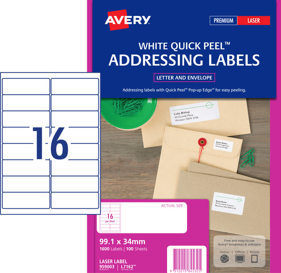 Avery Address Labels with Quick Peel for Laser Printers, 99.1 x 34 mm, 1600 Labels (959003 / L7162)
