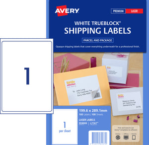 Avery Shipping Labels with Trueblock® for Laser Printers, 199.6 x 289.1 mm, 100 Labels (959009 / L7167)