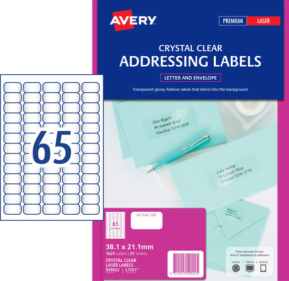 Avery Crystal Clear Address Labels for Laser Printers, 38.1 x 21.2 mm, 1625 Labels (959022 / L7551)