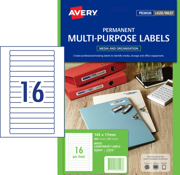Avery Permanent Multi-purpose Labels for Laser, Inkjet Printers, 145 x 17 mm, 400 Labels (959024 / L7674)