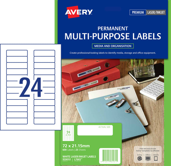 Avery Permanent Multi-purpose Labels for Laser, Inkjet Printers, 72 x 21.15 mm, 600 Labels (959032 / L7665)