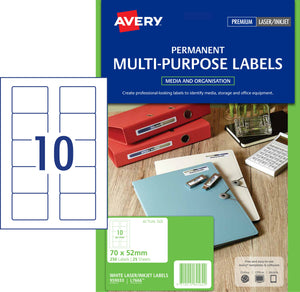 Avery Permanent Multi-purpose Labels for Laser, Inkjet Printers, 70 x 52 mm, 250 Labels (959033 / L7666)