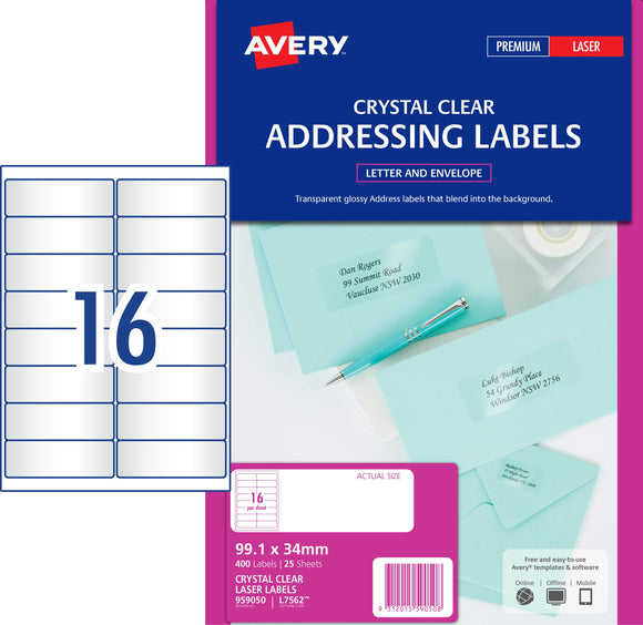 Avery Crystal Clear Address Labels for Laser Printers, 99.1 x 34 mm, 400 Labels (959050 / L7562)