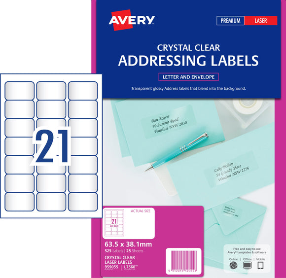Avery Crystal Clear Address Labels for Laser Printers, 63.5 x 38.1 mm, 525 Labels (959055 / L7560)