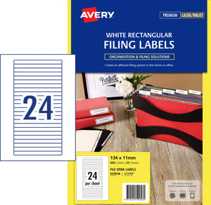 Avery White Lever Arch Filing Labels for Laser, Inkjet Printers, 134 x 11 mm, 600 Labels (959058 / L7170)