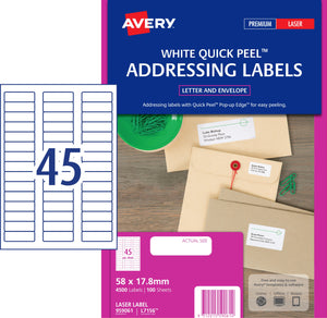 Avery Address Labels with Quick Peel for Laser Printers, 58 x 17.8 mm, 4500 Labels (959061 / L7156)