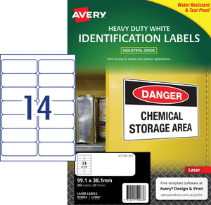 Avery White Heavy Duty Labels for Laser Printers, 99.1 x 38.1 mm, 350 Labels (959063 / L7063)