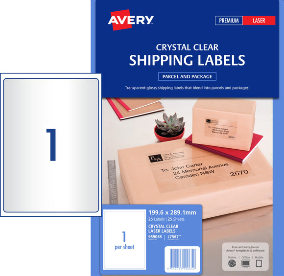 Avery Crystal Clear Shipping Labels for Laser Printers, 199.6 x 289.1 mm, 25 Labels (959065 / L7567)
