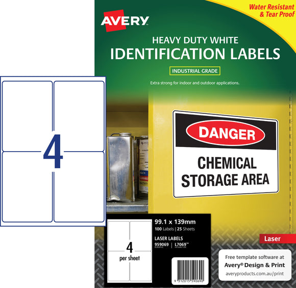 Avery White Heavy Duty Labels for Laser Printers, 99.1 x 139 mm, 100 Labels (959069 / L7069)