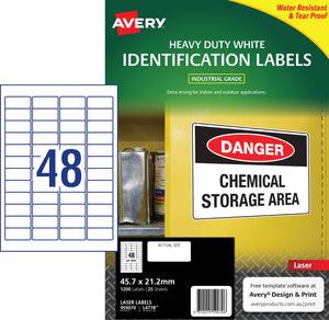 Avery White Heavy Duty Labels for Laser Printers, 45.7 x 21.2 mm, 1200 Labels (959070 / L4778 )