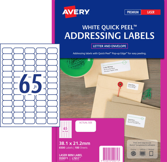 Avery Address Labels with Quick Peel for Laser Printers, 38.1 x 21.2 mm, 6500 Labels (959071 / L7651)