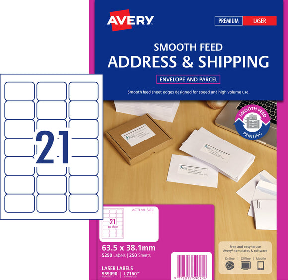 Avery Address Labels with Smooth Feed for Laser Printers, 63.5 x 38.1 mm, 5250 Labels (959090 / L7160)