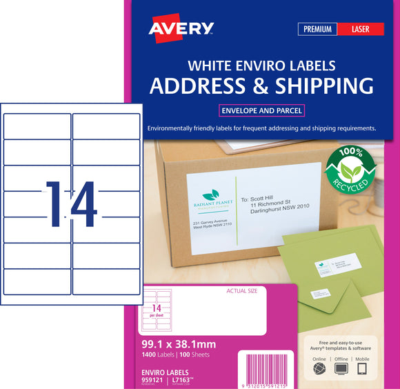 Avery Enviro Address Labels for Laser Printers, 99.1 x 38.1 mm, 1400 Labels (959121 / L7163EV)